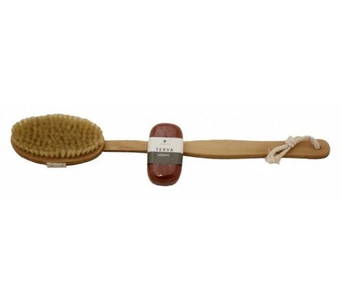 Cepillo de madera + Jabón Tar 100 gr. Emendo