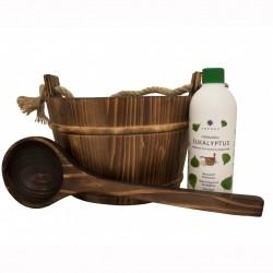 Cubo 4 L y cazo madera + esencia eucalipto 500 ml. Emendo